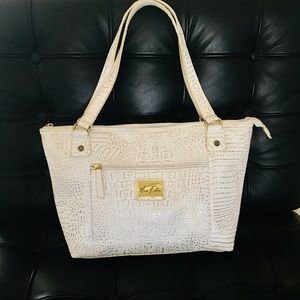 Marc Fisher white & gold tote